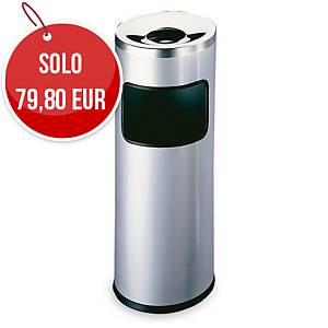 Posacenere autoestinguente a colonna Durable con cestino acciaio 17 L argento