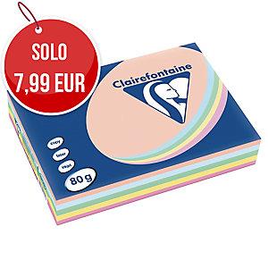 RISMA 500 FOGLI CARTA TROPHEE CLAIREFONTAINE F.TO A4 80 G/MQ PASTELLO ASSORTITI