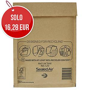 Buste a sacco imbottite Mail Lite® gold 15x21 cm avana - conf. 100