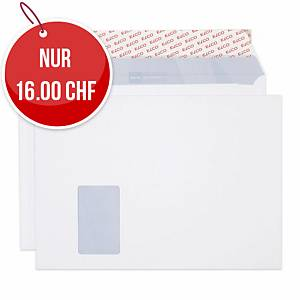 Couvert Elco Offic, C4, Fenster links, 120 gm2, weiss, Pack à 50 Stk.