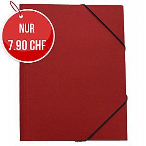 Gummizugmappe Erola 33299 A4, Presspan 650 g/m2, rot