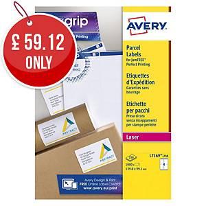 Avery L7169-250  Labels, 99.1 x 139 mm 4 Labels Per Sheet, 1000 Labels Per Pack