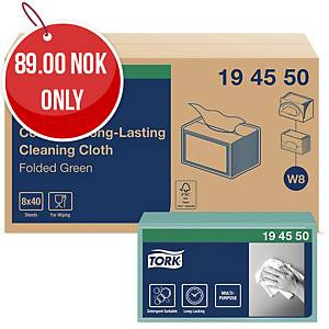 TORK COLOUR CODED CLOTHS GREEN - BOX OF 40