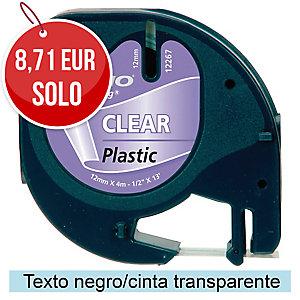 Cinta autoadhesiva DYMO LetraTag de plástico con letra negra/fondo transparente
