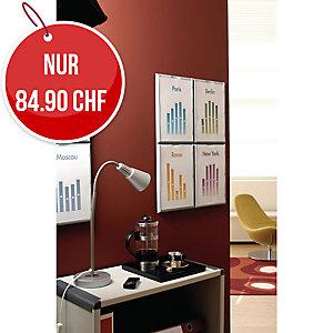 Wandprospekthalter Paperflow, A4, Kunststoff, silber, Packung à 4 Stück