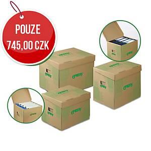 Archivační úložné krabice Emba - 33 x 30 x 29,5 cm, hnědá, 10 ks