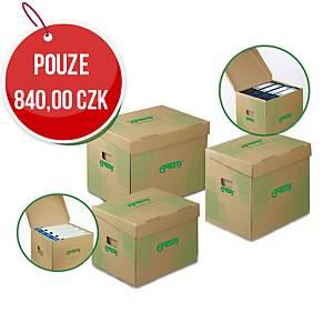 Archivační úložné krabice Emba - 42,5 x 33 x 30 cm, hnědá, 10 ks