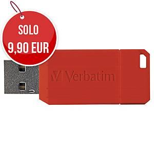 Memoria USB Verbatim Pin Stripe 16 GB rossa