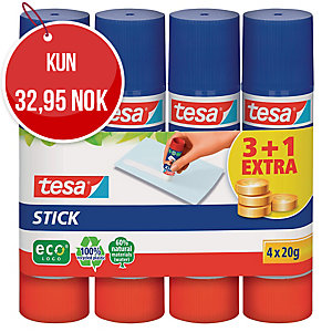 LIMSTIFT TESA EASY INKL. 1 RULL UTEN KOSTNAD PAKKE À 4 STK
