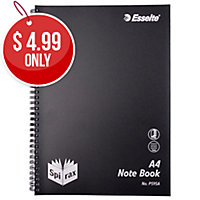 SPIRAX P595A POLYPROPYLENE SIDE OPENING NOTE BOOK A4 240 PAGE BLACK
