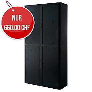 Rollladenschrank Paperflow, 110x41,5x204 cm (BxTxH), schwarz