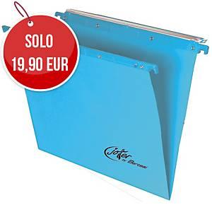 Cartelle sospese cassetto Bertesi fondo V interasse 390 blu - conf. 10