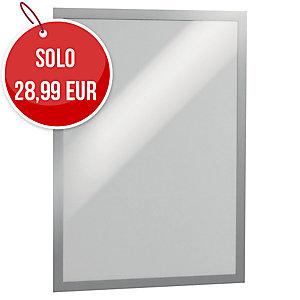 Cornice adesiva con pannello magnetico duraframe Durable A3 argento - conf. 2