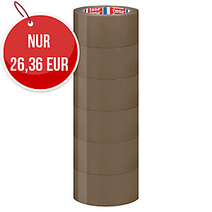 Tesa PVC Packband, braun, 50 mm x 66 m, Stärke 49 Mic, 6 Stk/Packung