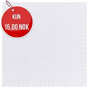 Servietter Duni, 2 lag 33 x 33 cm, hvit, pakke à 125 stk.
