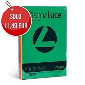 Carta colorata Favini Rismaluce A4 140 g/mq colori assortiti - risma 200 fogli