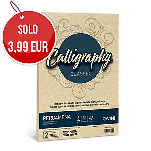 RISMA 50 FOGLI CARTA PERGAMENA CALLIGRAPHY FAVINI FORMATO A4 90 G/MQ CREMA