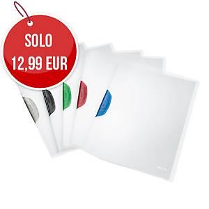 Cartelletta trasparenti con clip Leitz Color Clic A4 30 fogli - conf. 6