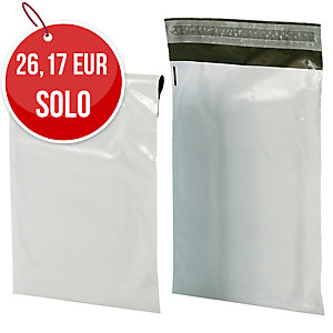 Pack de 100 sobres de plastico opaco 310x420 mm blanco