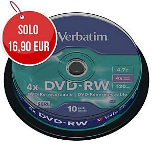 DVD-RW Verbvatim 4.7 GB 120 min spindle - conf. 10