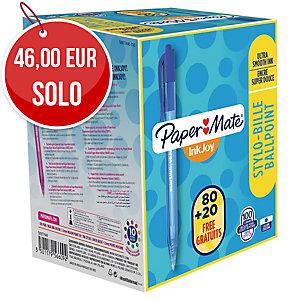 Pack 80+20 bolígrafos retráctiles Paper Mate Inkjoy 100 RT - azul