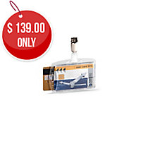DURABLE SECURITY CARD HOLDER ACRYLIC DUAL CARD HOLDER 54X85MM - PACK OF 25