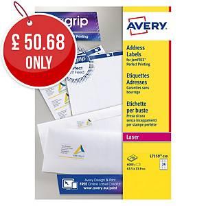 Avery L7159-250  Labels, 63.5 x 33.9 mm, 24 Labels Per Sheet, 250 Sheets