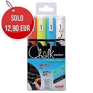 Marcatore a gesso liquido Uni Chalk Marker punta tonda colori assortiti -conf.4
