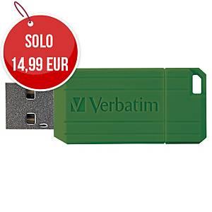Memoria USB Verbatim Pin Stripe 64 GB verde