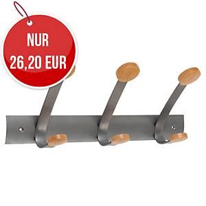 Alba PMV3 Wandgarderobe mit 3 Haken, Metall/Holz