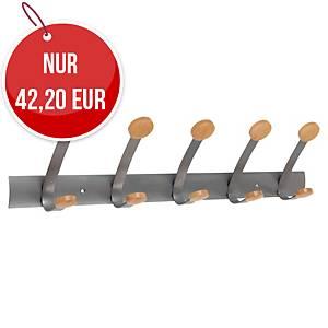 Alba PMV5 Wandgarderobe mit 5 Haken, Metall/Holz