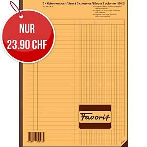 Durchschreibebuch Favorit A4, 3-Kolonnen, 50x2 Blatt, nummeriert
