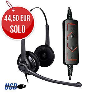 Auricular ergonómico y resistente con conector USB DH037 biaural - USB FREEMATE