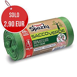 Sacchi spazzatura SaccoVerde Spazzy Domopak riciclati 80% 28 L verde - rotolo 20