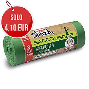 Sacchi spazzatura SaccoVerde Spazzy Domopak riciclati 80% 110L verde - rotolo 10