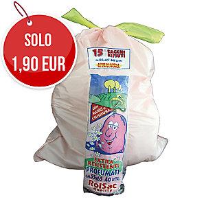 Sacchi spazzatura Rolsac con maniglie 30 L - rotolo 15