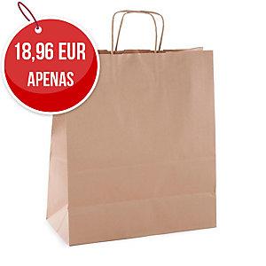 Pack de 50 sacos de papel com asa 310x240x110 mm kraft castanho