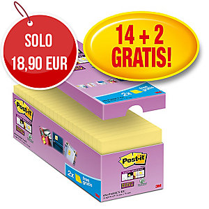 FOGLIETTI POST-IT® ADESIVO SUPER STICKY:14+2 GRATIS 76x76MM GIALLO CANARY™