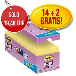 Foglietti Post-it® adesivo Super Sticky 14+2 gratis 76 x 76 mm giallo canary™