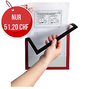 Wandzeigtasche Durable Duraframe 4869-03, A4, magnetisch, rot, Pk. à 5 Stk.