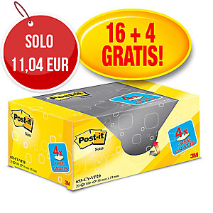 FOGLIETTI POST-IT® ADESIVO STANDARD:OFFERTA 16+4 GRATIS 38x51MM GIALLO CANARY™