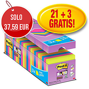 FOGLIETTI POST-IT SUPER STICKY 76 X 76 MM COLORI ASSORTITI - CONF. 21 + 3 GRATIS