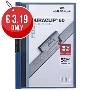 Durable Duraclip 60 A4 Presentation Folder Dark Blue - Pack of 25