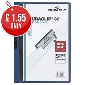 Durable Duraclip 30 A4 Presentation Folder Dark Blue - Pack of 25