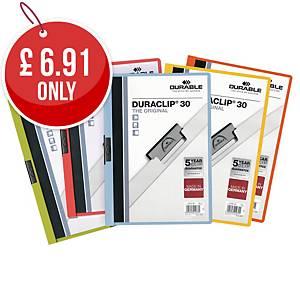 Durable Duraclip 30 A4 Presentation Folder Assorted - Pack of 5