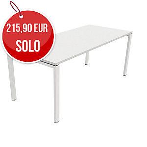Mesa Ocean de melamina color blanco/blanco dimensiones 160 x 80 x 75 cm