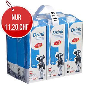 Drinkmilch UHT mit Drehverschluss 1 l, Packung à 6 Tetra Pak