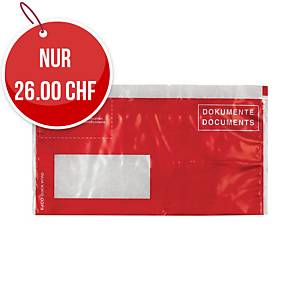 Dokumententasche Elco Vitro, C5/6, Fenster links, rot, Packung à 250 Sück