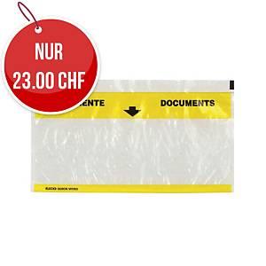 Dokumententasche Elco Vitro, C5/6, gelb/transparent, Packung à 250 Stück