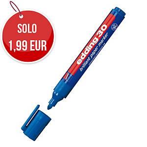 Marcatore indelebile multiuso brillante Edding 30 punta tonda blu